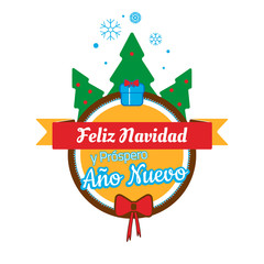 Christmas card Feliz Navidad  Merry Christmas and New Year in Spanish