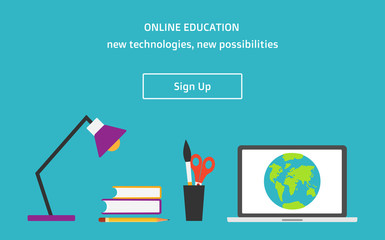 Vector flat style online education web banner with sign up butto