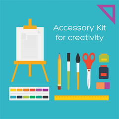 Vector flat style education art tools and school supplies : ease