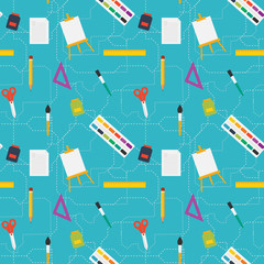 Vector flat style education art tools and school supplies seamle