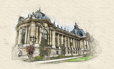 Lateral view of Petit Palais in Paris