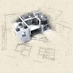 Loft mock-up and blueprints