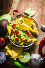 bowl guacamole chips ingredients tomato chilli pepper lime onion garlic dill