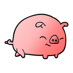 vector gradient illustration cartoon pig