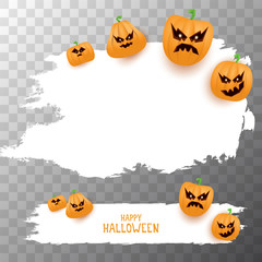 Halloween web white grunge cartoon Banner or poster with Halloween scary pumpkins isolated on transparent background . Funky kids Halloween banner with space for greeting text or sale