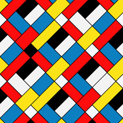 Colorful diagonal geometric squares mondrian style seamless pattern, vector