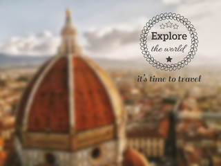 Vector postcard with blurred Florence Duomo and badge