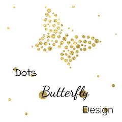 Vector golden design with dots and butterfly
