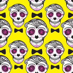 Calavera sign Dia de los muertos. Mexican Day of the dead. Seamless pattern. Bright Vector hand darwing illustration man on yellow