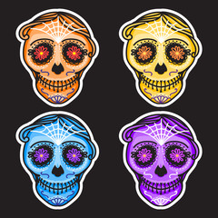 Set Calavera sign Dia de los muertos. Mexican Day of the dead. Vector hand drawing illustration man sticker. Orange color