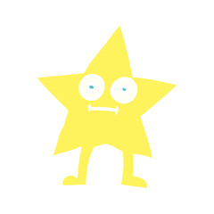 flat color illustration cartoon star character