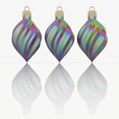 Three colourful baubles. Spiral shaped. Multi Coloured. With Reflection. Christmas. 3d illustration. Render. Christmas holidays. December. Winter.