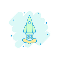 Cartoon colored rocket icon in comic style. Space shuttle illustration pictogram. Rocket sign splash business concept.