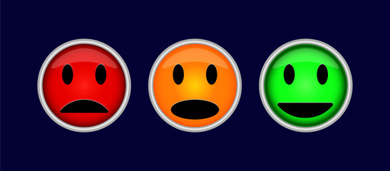 Three colorful buttons with symbols of emotions, fun, sadness, indifference