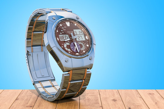 Analog Digital Wrist Watch for men on the wooden table. 3D rendering