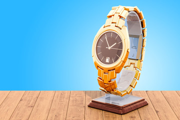 Golden wrist watch on the stand holder on the wooden table. 3D rendering