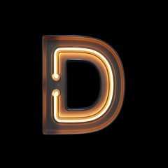 Neon Light Alphabet D with clipping path. 3D illustration
