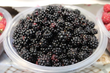 Closeup of backberries in bowl