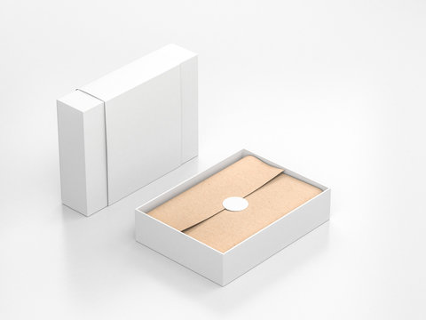 Opened White Gift Box Mockup with cower and kraft wrapping paper and round label