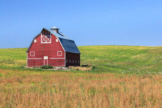 Classic red barn in field during summer.