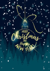 Vector illustration of a glitter Christmas ball with Merry Christmas and Happy New Year text on dark Christmas tree background. Christmas design.