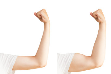 Man's hand with muscles before and after. Sports man on white background. Isolated on white