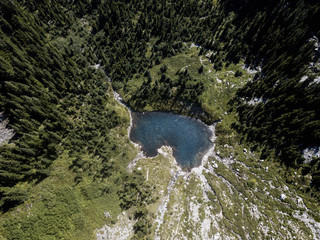 arial image of lake in the mountains