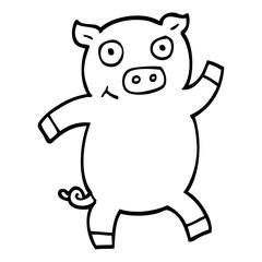 black and white cartoon dancing pig