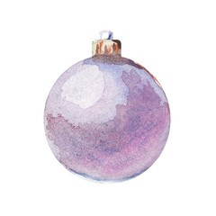 watercolor isolated illustration of ball christmas tree toy, freehand drawing of round decoration for christmas and new year