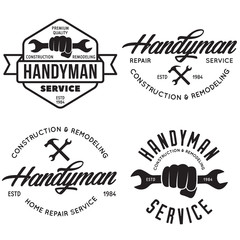 Handyman labels, badges, emblems, design elements. Tools silhouettes. Carpentry related vector vintage illustration.