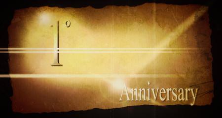 1° anniversario, progetto grafico vintage.