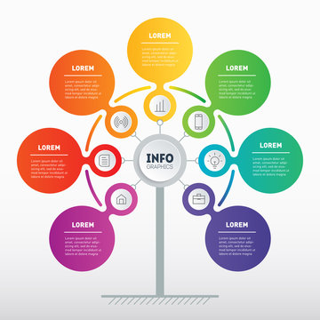Business presentation or infographics concept with 7 options. Web Template of tree, info chart or diagram. Vector info graphic of technology or education process with 7 steps.