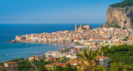 Wall Murals Palermo Panoramic view of Cefalù in the summer. Sicily (Sicilia), southern Italy.