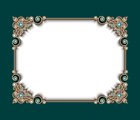 Vintage photo frame with jewelry border