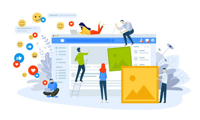 Fototapeta Vector illustration concept of social network. Creative flat design for web banner, marketing material, business presentation, online advertising. obraz