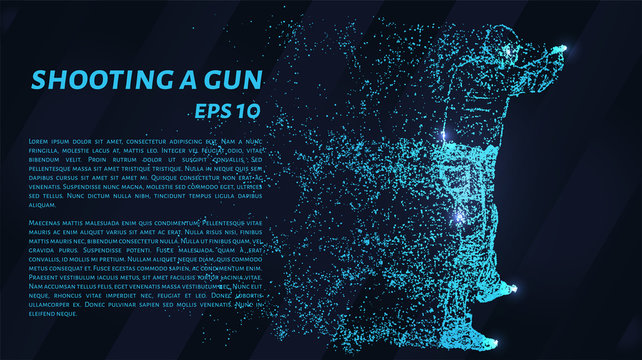 Shooting a gun from the particles. A man fires a gun. Silhouette of circles and dots. Vector illustration