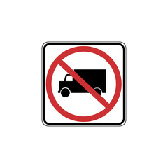 USA traffic road signs. no truck allowed. vector illustration