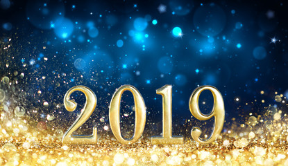 Wall Mural - Happy New Year 2019 - Glitter Golden Dust