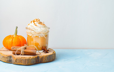 Pumpkin Spice Latte, Coffee, Milkshake or Smoothie with Whipped Cream and Cinnamon