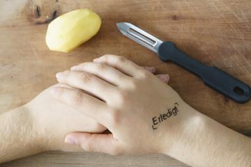 Arbeit erledigt, Kartoffel geschält