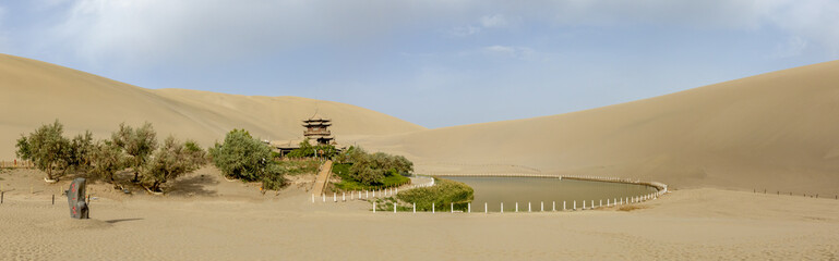 Panorama of Crescent Lake, Singing Sand Mountain, Taklamakan Desert, Dunhuang, China