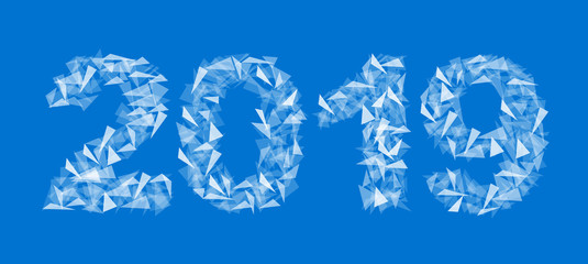 2019 new year number made up of triangles translucent isolated rectangular blue