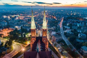 Aerial drone view on Basilica and city center in Rybnik. Wall mural