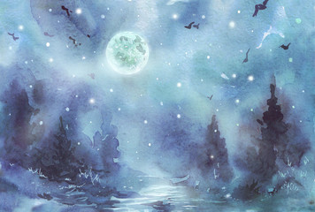 Dark midnight Forest watercolor