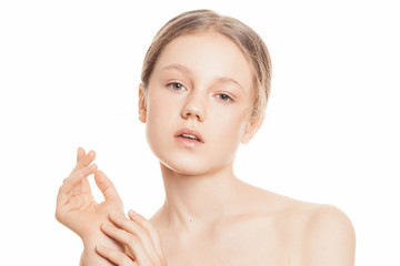 Healthy skin female model. Beauty girl face closeup. Nude make up