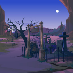 A vulture sits on the branch of a dead tree on the old cemetery in the night by the light of the full moon. Poster on theme of Halloween holiday party. Vector cartoon close-up illustration.