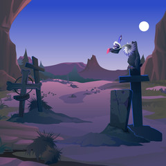 A vulture sits on a grave cross on the old cemetery in the twilight by the light of the full moon. Poster on theme of Halloween holiday party. Vector cartoon close-up illustration.