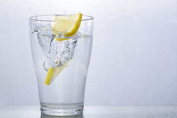 clear water with lemon