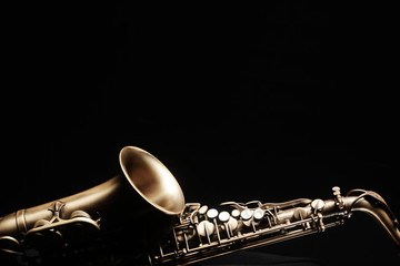 Poster Music Saxophone jazz instruments. Alto sax isolated