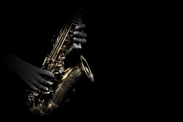 In de dag Muziek Saxophone player. Saxophonist playing jazz music instrument